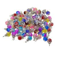 50x Lot Kristallglasperlen Charms Blumenanhänger für Schmuckherstellung DIY