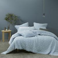 Hayes Soft Blue Bedspread Set by Bianca | super soft, Modern, stonewashed cotton