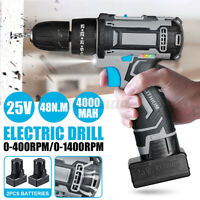 48Nm 3/8'' Cordless Electric Drill Screwdriver Hand Power Tool 4000mAh Battery
