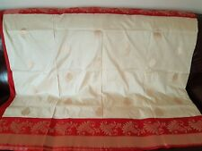 New Pure Soft Handloom Silk Red Cream Gold Zari Saree Sari Wedding Bridal Party