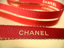 "Chanel red ribbon by the yard gold logo 3/8"" wide scarlet holiday grosgrain"