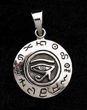 Colgante Ronda Ojo d' Horus y Símbolos Plata 925-4.3g-bijoux Egipto -W4E 9970