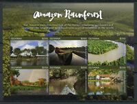 Guyana 2017 MNH Amazon Rainforest 6v M/S II Trees Plants Nature Stamps