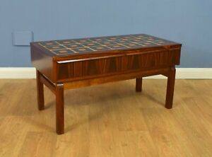 Mid Century Retro Danish Rosewood and Tile Console Hall Table Chest TV Stand 60s