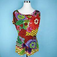 ALBERTO MAKALI Short Sleeve Beaded Floral Artsy Wrap Top, Size Medium