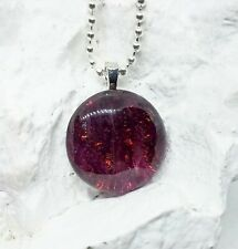 Deep Purple 1 inch Round Dichroic Glass, Fused Glass Jewelry, Pendant Necklace