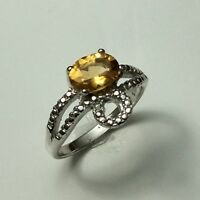 Claw Ring Natural Yellow Topaz Gemstone Oval Sterling Silver 925 Ring Size No 7