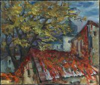 """Russischer Realist Expressionist Öl Leinwand """"Herbst"""" 60 x 52 cm"""