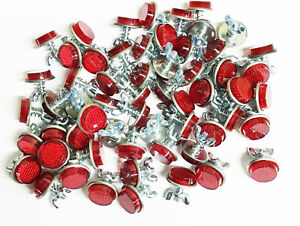 20 RED MINI REFLECTORS LICENSE PLATE MOTORCYCLE BIKE TRUCK TRAILER BB-52076R