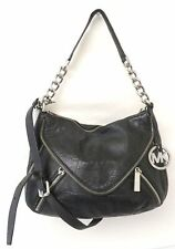 Michael Kors Black Leather Zipper Crossbody Bag Purse