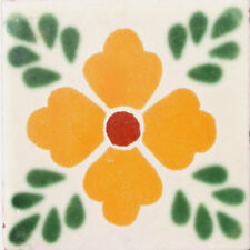 #C038) Mexican Tile sample Ceramic Handmade 4x4 inch, GET MANY AS YOU NEED !!