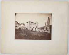 MOUNTED ALBUMEN PRINT OF A STONE HOME WITH A STONE GATE, AND LARGE STONE PILLARS