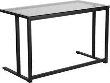 Modern Sleek Computer Desk With Tempered Clear Glass Top Amp Black Metal Frame