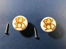 Lot of 2 Cute Monkey Childrens Cabinet Drawer Dresser Knobs Pulls Handles Kids