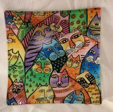Laurel Burch Feline Frolic Solid Glass Embossed Fabric Tray Rare Wholesale