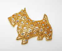 Vintage clear rhinestone Scottie DOG BROOCH Terrier Costume animal figural