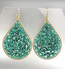 GORGEOUS Artisanal Aqua Blue Teal Crystals Gold Chandelier Earrings 15