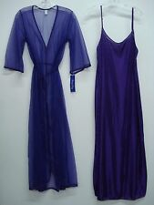 USA Made Nancy King Lingerie Long Peignoir Set Gown & Robe Small Purple #763Q