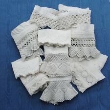 Bundle 10 antique French cotton lace broderie anglaise fabric bloomer remnants