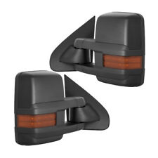 New Set of 2 Power Amber Turn Signal Tow Mirrors Black for Chevy/GMC Truck 07-13