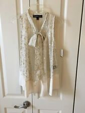 Elizabeth and James Tie Neck Blouse Sheer Silk Small NWT $295 Ivory Gold