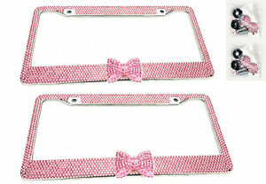 2 x Pink Bow Tie Bling Diamond Crystal Metal License Plate Frame For Nissan
