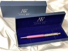 Fashion SWAROVSKI Element Crystal Pen with Anna Wu Gift Case LILAC PINK