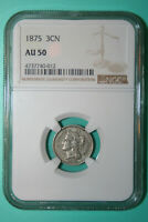 1875 Three Cent Nickel  - NGC AU 50 - 3CN