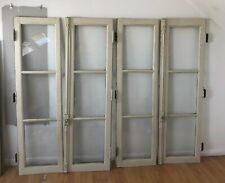 More details for 2 pairs of grey antique french wooden chateau windows / cabinet doors