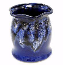 """Drip Glaze Studio Art Pottery Utensil Holder Vase Blue White Fluted Rim Signd 7"""""""