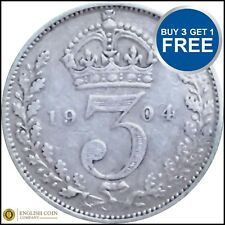 +1902 TO 1910 EDWARD VII SILVER THREE PENCES 3D CHOICE OF YEAR / DATE