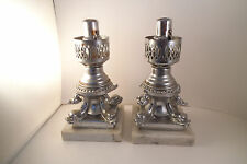 Vintage Metal Marble Candle Corporation of America Pair of Lamps Fish Dolphin