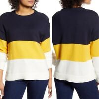 Tommy Hilfiger Mariner Color Block Knit Sweater Blue Yellow White Size Medium