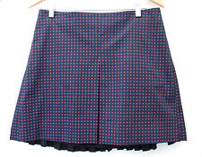 NWT Tory Burch Klarissa Sexy Pleated Stretch Cotton Navy Daisy Dots Skirt 6 $320