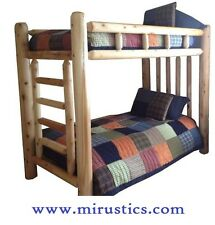 #1 Selling Rustic Cedar Log Bunk Bed Bunkbed - Twin/Twin - EASY ASSEMBLY