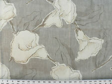 Drapery Upholstery Fabric 100% Cotton Duck Abstract Calla Lily - Taupe