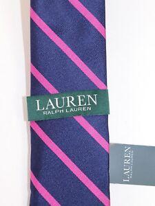 NWT $65 RALPH LAUREN Men's Navy University Stripe 100% Silk Classic Neck Tie