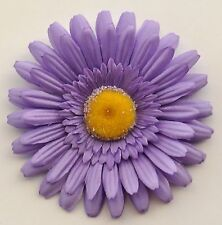 "4.5"" Lavender Gerbera Daisy Silk Flower Hair Clip Pinup Wedding Bridesmaid"