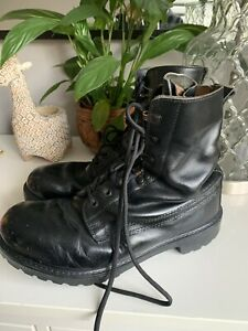 British Army Issue Black Polished Combat Boots Size 10 MDoc Martin Style Leather