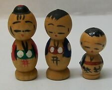 Japanese Family Kokeshi Dolls Small Wood Hand Painted Vintage Set 3