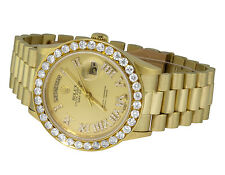 18K Mens Yellow Gold Rolex President Day-Date 36MM Champagne Diamond Watch 6.0Ct