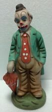 """1960 Vintage Ceramic Hobo Clown holding umbrella. 7 1/2"""" tall Great color detail"""