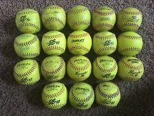 18 Used Softballs, Mixed Lot 12 inch High Visibility Softballs Batting practice