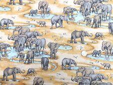 Safari Elephant scene fabric fq 50x56 cm Makower MK1533 100% Cotton