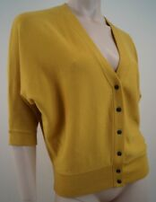 PRINGLE 1815 SCOTLAND Yellow Merino Wool 3/4 Sleeve V Neck Cardigan Top Sz: S