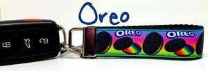 "Oreo Cookie Key Fob Wristlet Keychain 1""wide Zipper pull Camera strap handmade"