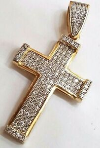 "GOLD 14k Cross Pendant yellow simulated diamond necklace 1.60"""
