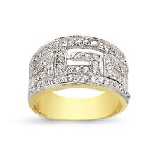 9CT GOLD LADIES CUBIC ZIRCONIA CZ BOMBAY GREEK KEY ETERNITY WEDDING RING CLUSTER