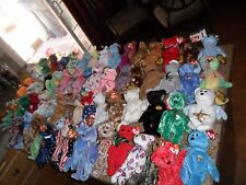 65 LOT BEARS BEANIE BABY BUDDIES LIBERTY HOLIDAY HALLOWEEN CHRISTMAS VALENTINO