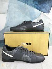 $690 FENDI Gray Leather & Canvas Zucca Men's Lace Up Sneakers SZ 10 w/ Box SALE!